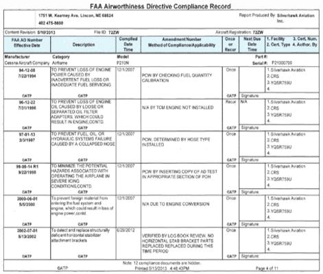 FAA AD Matrix