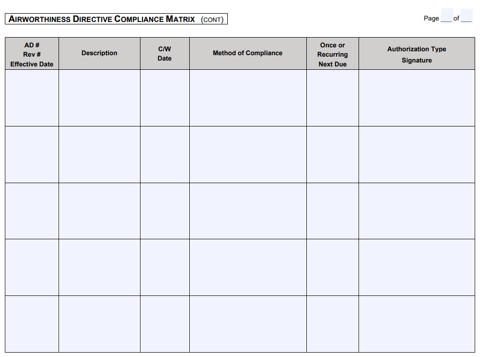 Airworthiness Directive Matrix Cont.