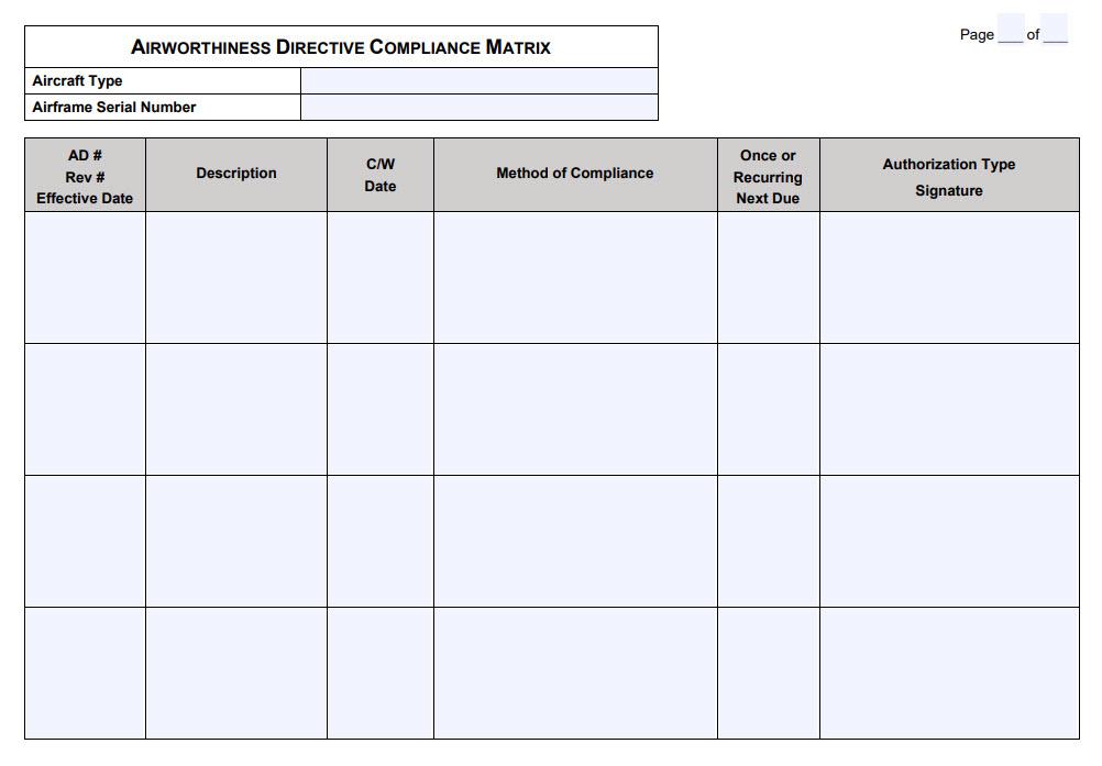Airworthiness Directive Compliance Matrix for Aircraft Maintenance