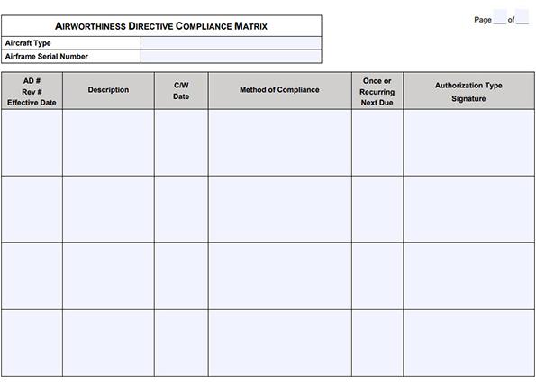 Airworthiness Directive Compliance Matrix Example