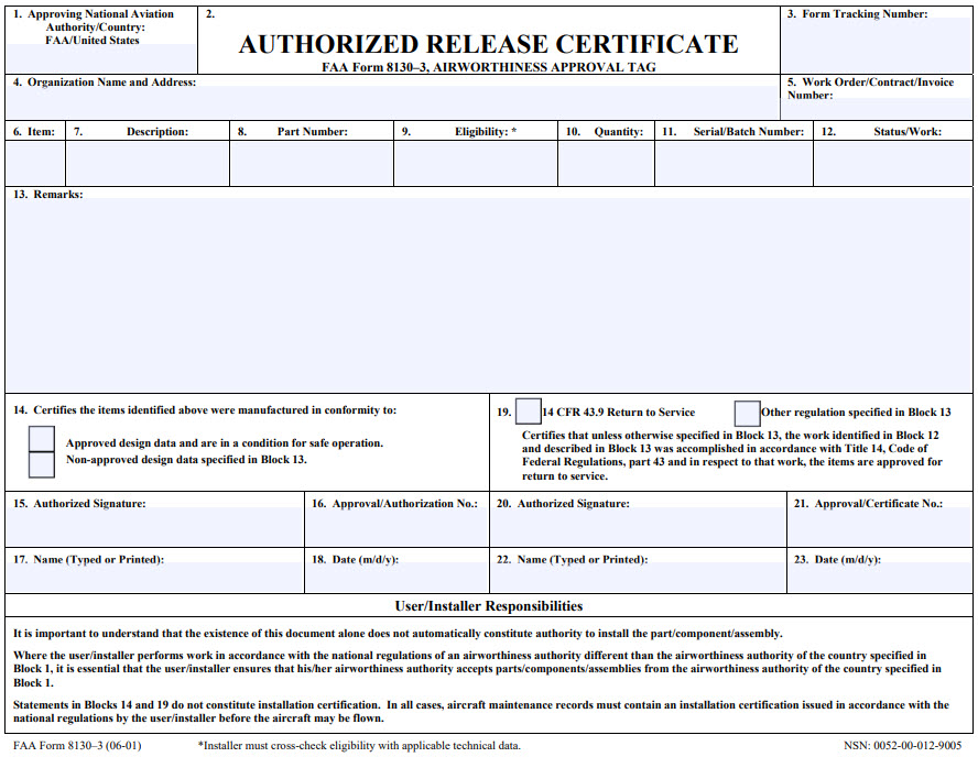 Authorized Release Certificate FAA Form 8130-3 Airworthiness Approval Tag
