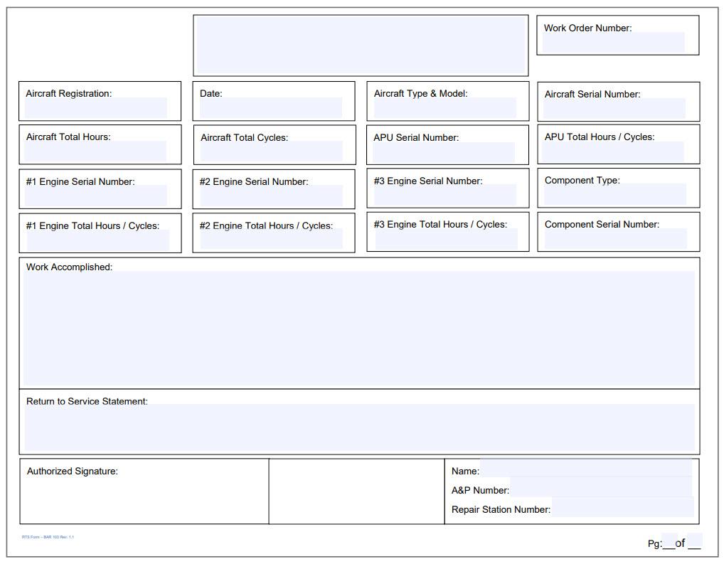 General Entries & Return to Service 3 Engine Form Landscape